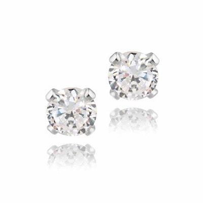 Sterling Silver Stud Earrings, 4mm