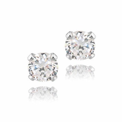 Sterling Silver Stud Earrings, 4mm