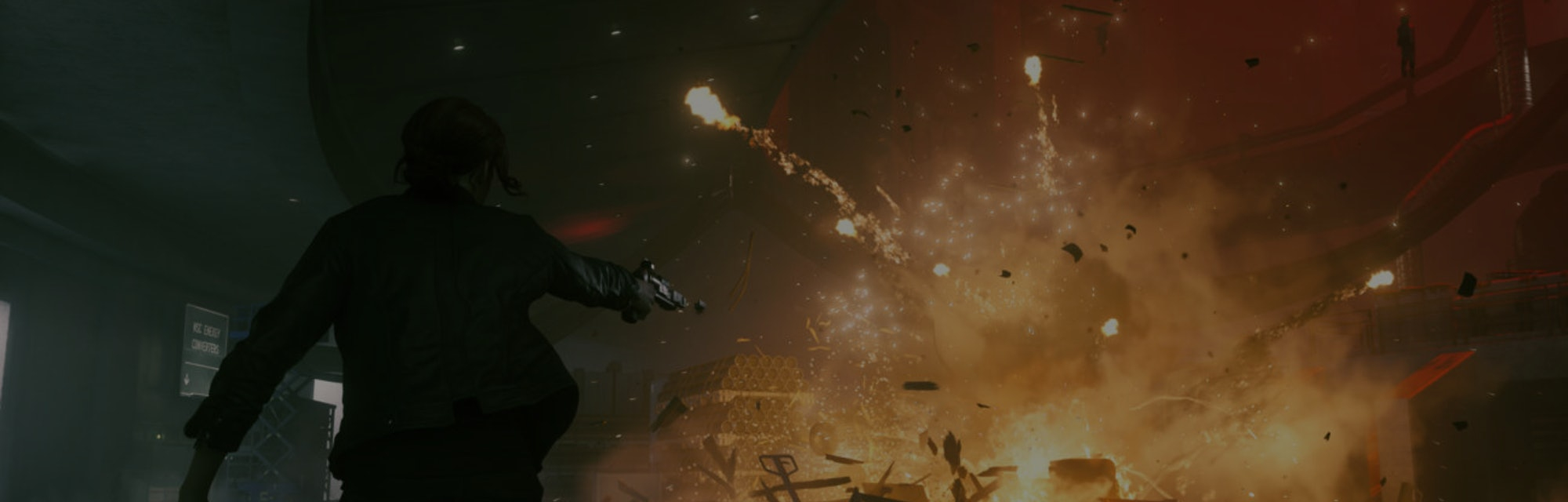 A screenshot from the game Control in which the protagonist, armed with a gun, is engaged in combat.