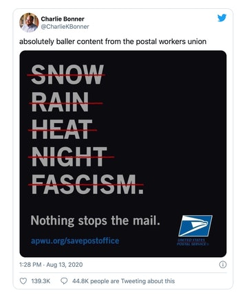 Graphic from a postal workers union.