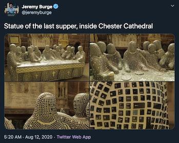 Twitter screenshot of Last Supper Sculpture