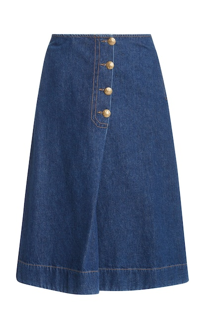 London Denim Wrap Midi Skirt