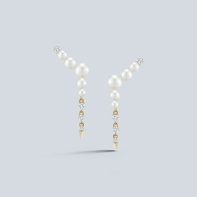 Jemma Wynne Prive Pearl Ear Climber Diamond Drops