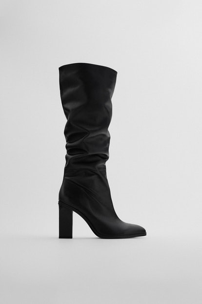 Slouchy Heeled Leather Boots