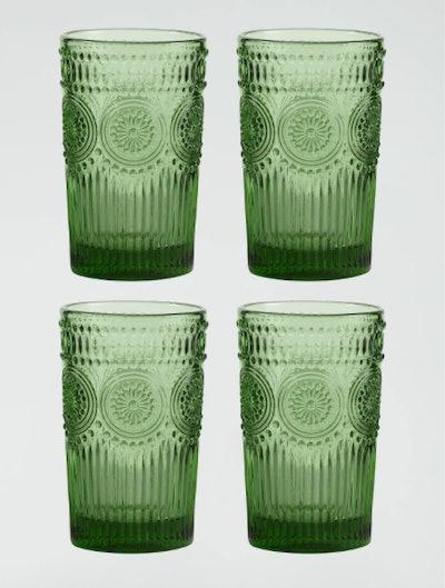 Green Sunflower Tumblers Set of 4