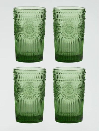 Green Sunflower Tumblers Set of 4
