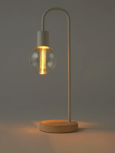 White Curved Wire Battery Bulb Lamp