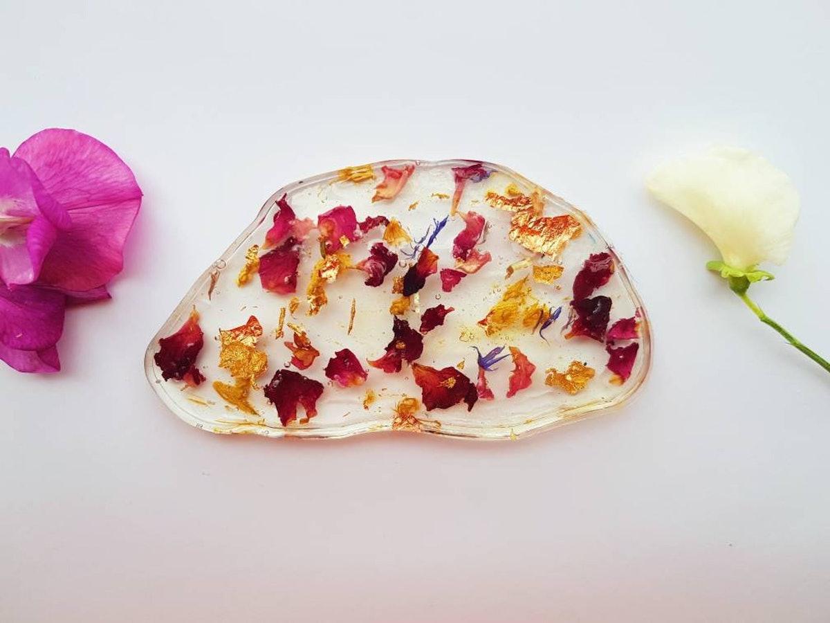 Rose Petal Gold Leaf Geode Resin Coaster