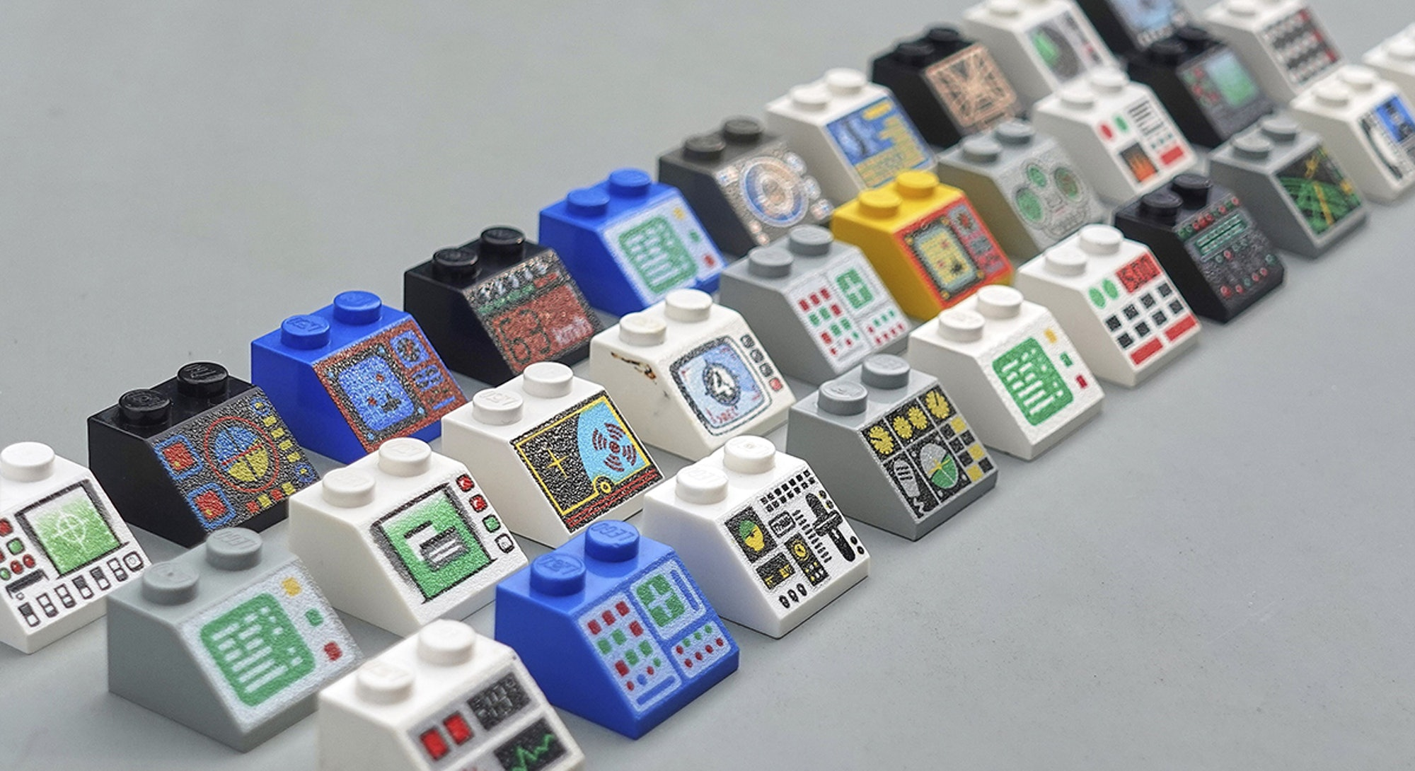 A selection of Lego control panels