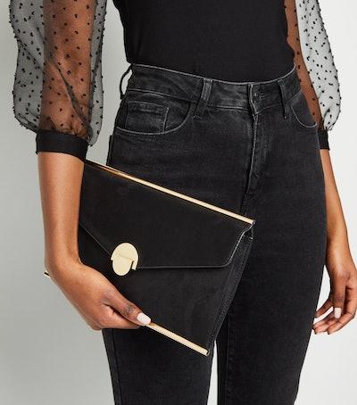 Black Suedette Envelope Clutch Bag