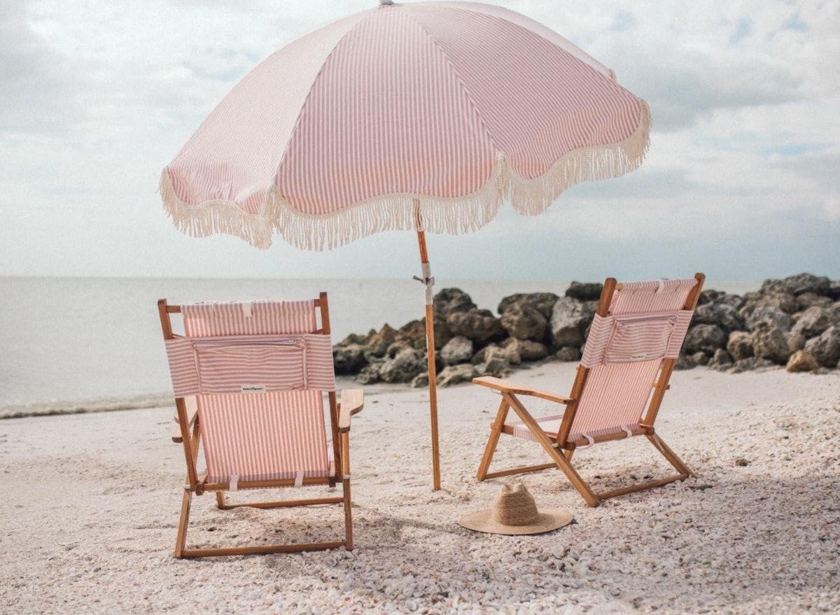 The Premium Beach Umbrella - Lauren's Pink Strip