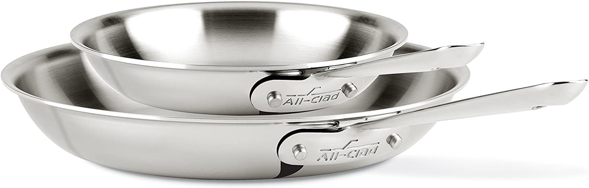 All-Clad Stainless Steel Frying Pan 8 and 10 Inch Cookware Set (2-Piece)