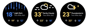 A screenshot of the updated Wear OS weather app