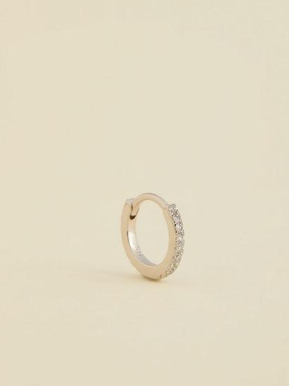 Diamond Solitaire Huggie Hoop Earring