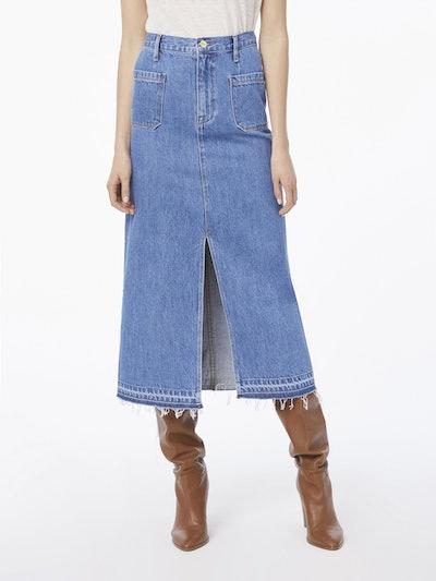 Le Bardot Midi Skirt Raw Hem