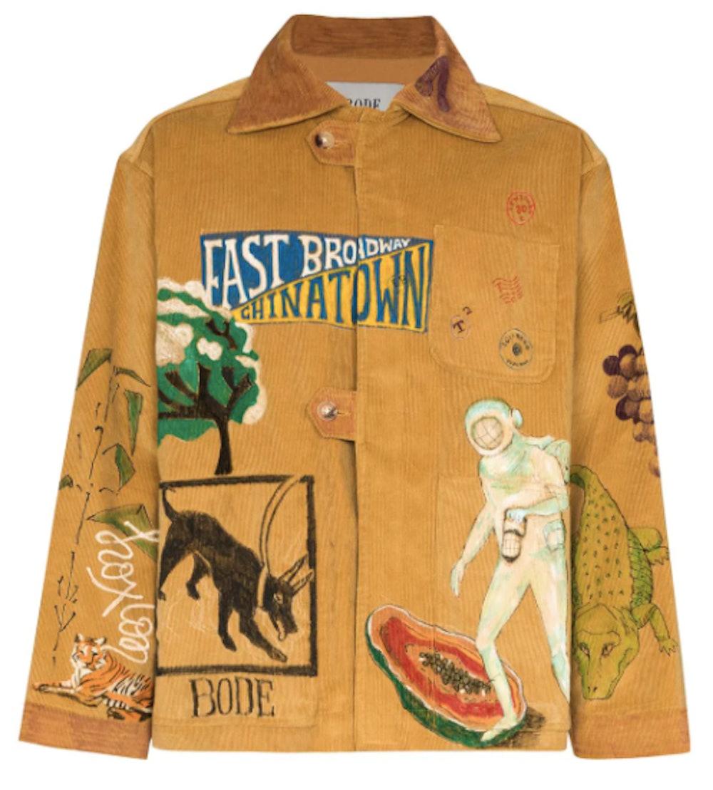 Illustrated Boxy-Fit Corduroy Jacket