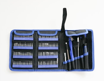 Hautton's 126-piece toolkit for opening up gadgets.
