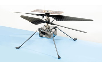 A flight model of Ingenuity. The Helicopter will have to rely on the solar panel on top for charging once it reaches Mars.