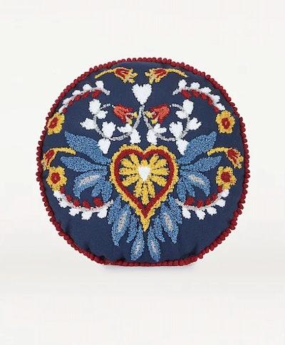 Navy Embroidered Floral Folk Round Cushion