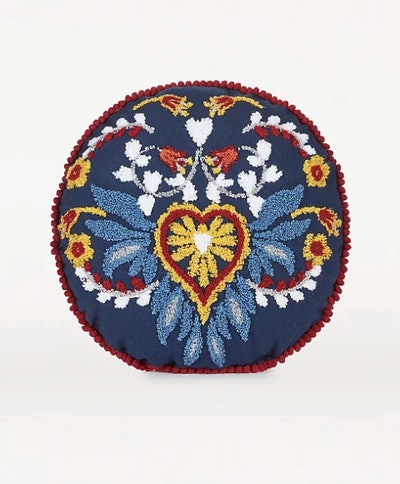Navy Embroidered Floral Folk Round Cushion
