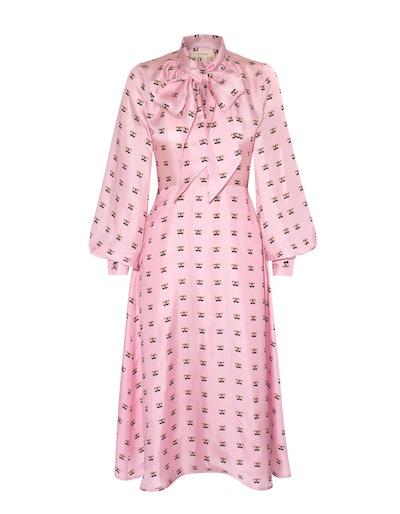 Penelope Pink Lily Print Silk Midi Dress