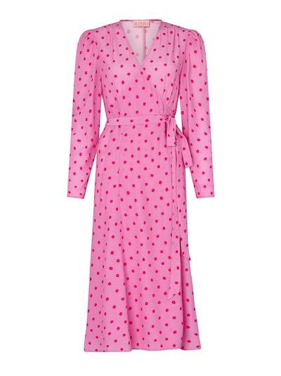 Stephanie Pink Polka Dot Wrap Dress