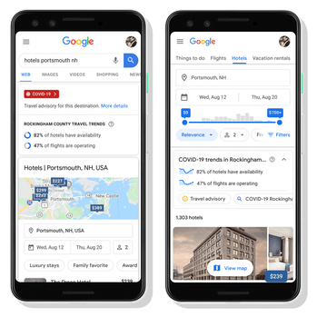 Two side-by-side screens show Google Maps with information relevant to COVID-19 on the screens. The first screen shows hotel information in Portsmouth, New Hampshire, while the second screen shows hotel availability and flight operations.