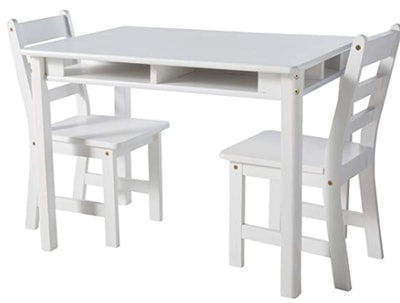 Lipper International Child's Rectangular Table with Shelves and 2 Chairs, White