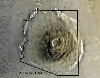 Olympus Mons, with the map of the state of Arizona for comparison. So far, NASA has only been able to explore the volcano from above. Flight capabilities could change that.