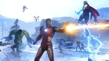 marvel's avengers hulk iron man thor snow