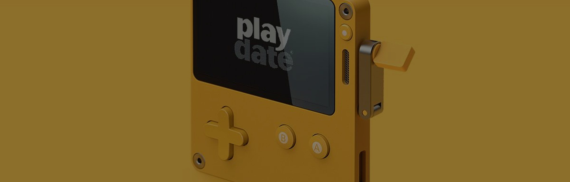 A photo of the Panic Playdate handheld game console.