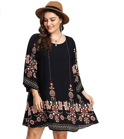 Romwe Women's Plus Size Boho Summer Beach Dress