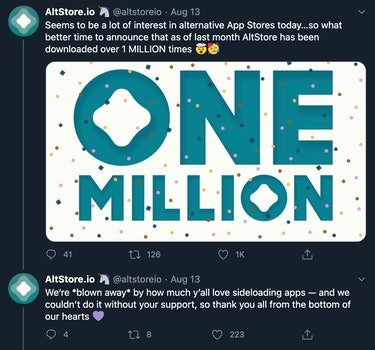 Tweets saying Seems to be a lot of interest in alternative App Stores today...so what better time to announce that as of last month AltStore has been downloaded over 1 MILLION times. We're blown away by how much y'all love sideloading apps — and we couldn't do it without your support, so thank you all from the bottom of our hearts.