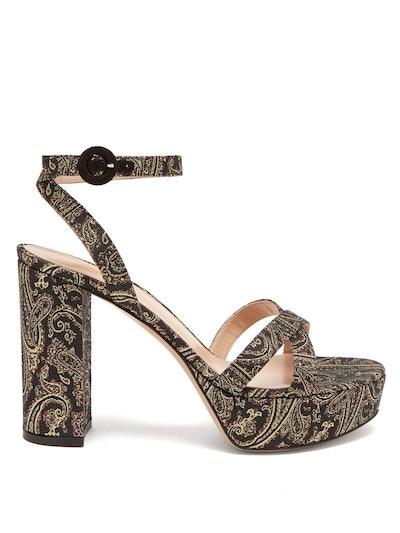 Poppy 70 Paisley-Brocade Sandals