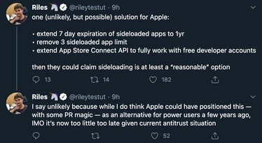 """Tweets reading One (unlikely, but possible solution for Apple: Extend 7 day expiration of sideloaded apps to 1yr. Remove 3 sideloaded app limit. Extend App Store Connect API to fully work with free developer accounts. Then they could claim sideloading is at least a """"reasonable"""" option. I say unlikely because while I do think Apple could ahve positioned this — with some PR magic — as an alternative for power users a few years ago, IMO it's now too little too late given current antitrust situation."""