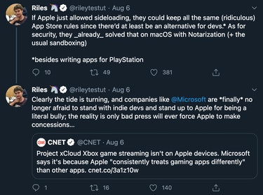 """Riley Testut tweeting """"If Apple just allowed sideloading, they could keep all the same (ridiculous) App Store rules since there'd at least be an alternative for devs."""" As for security, they already solved that on macOS with Notarization (+ the usual sandbox). Clearly the tide is turning, and companies like Microsoft are finally no longer afraid to stand with indie devs and stand up to Apple for being a literal bully; the reality is only bad press will ever force Apple to make concessions..."""