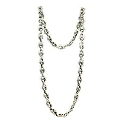 Gucci Vintage Italian Anchor Mariner Link Silver Chain Necklace