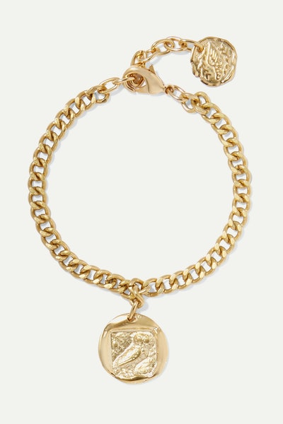 Ancient Greek Sandals Owl Gold-Tone Anklet