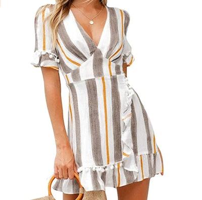 Simplee Apparel Women Sexy Deep Line Dress