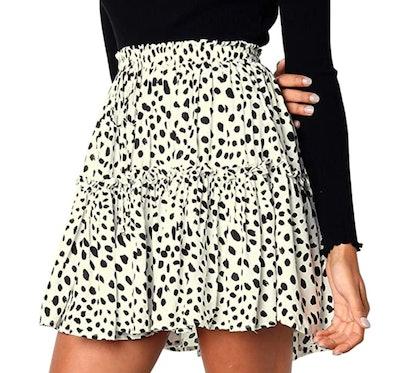Hibluco Women's Ruffle Pleated Skirt