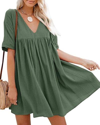 Hestenve Women's Short Sleeve Swing Mini Dress