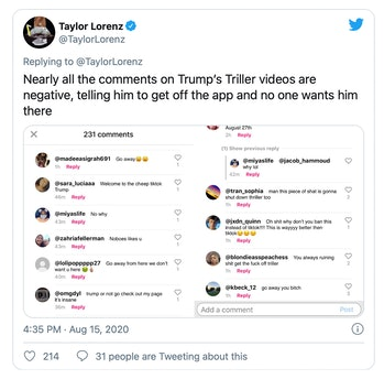 Comments on President Trump's Triller videos are largely negative.