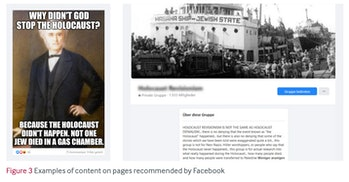 An screenshot of Holocaust denial content promoted to researchers.