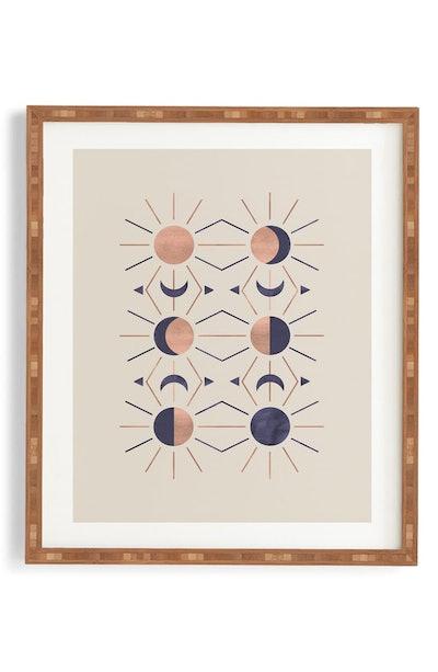 Deny Designs Moon & Sun Rose Gold Framed Wall Art