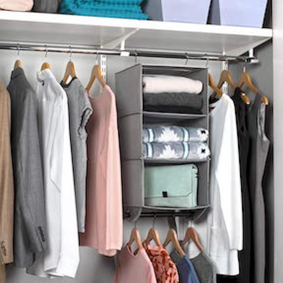 Hanging Closet Organizer with Garment Rod