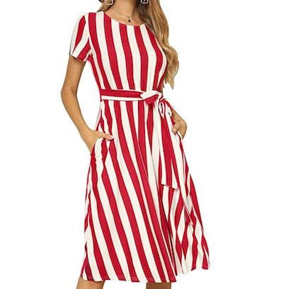 Levaca Women's Short Sleeve Striped Midi Dress