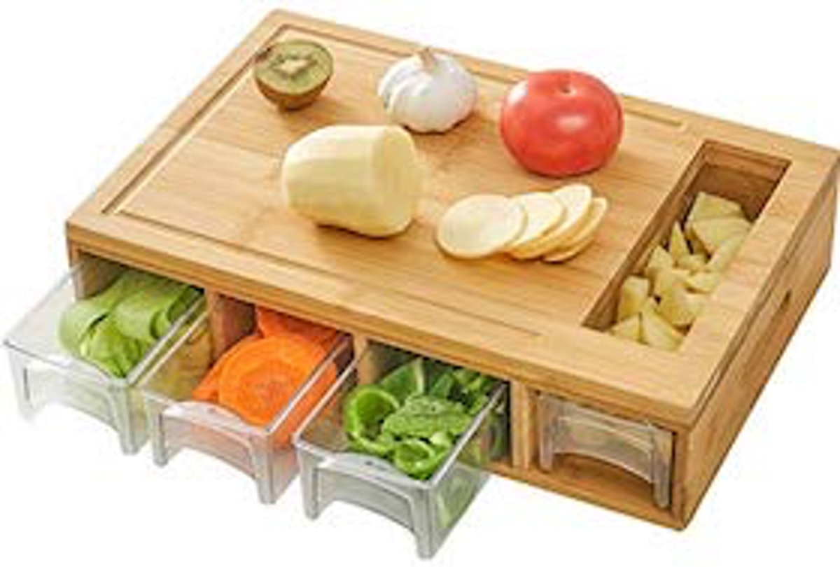 NOVAYEAH Bamboo Cutting Board with 4 Containers
