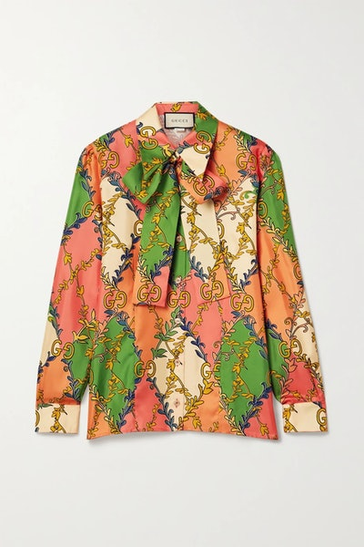 Pussy-Bow Printed Silk-Twill Blouse