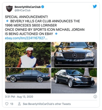 Beverly Hills Car Club Twitter account advertising an auction of a Mercedes-Benz once owned by Michael Jordan.