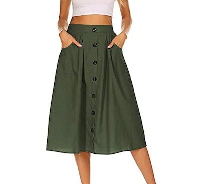 Naggoo Womens Casual Front Button Midi Skirt